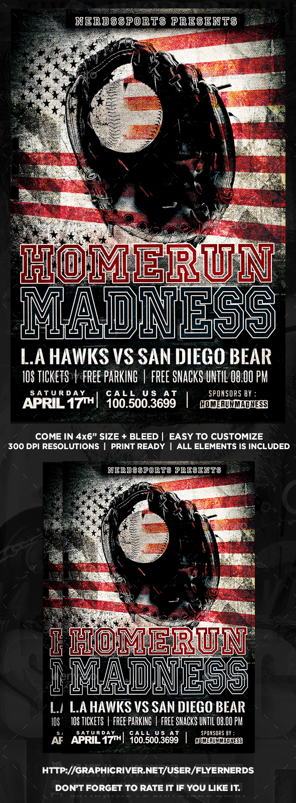 Homerun Madness Baseball Sports Flyer - Sports Events