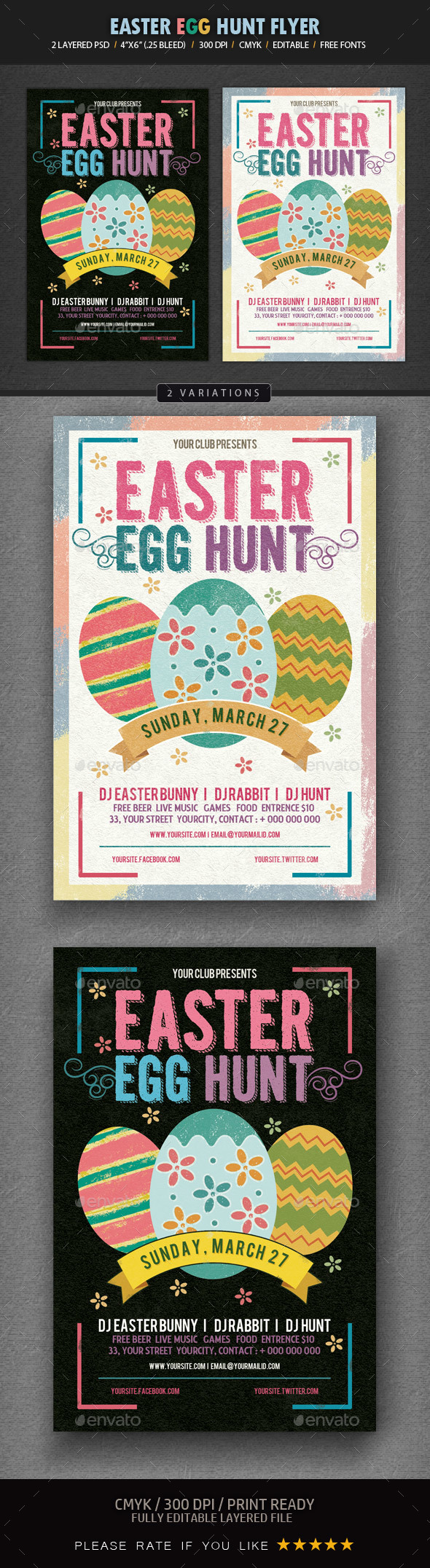 Easter Egg Hunt Flyer template - Events Flyers