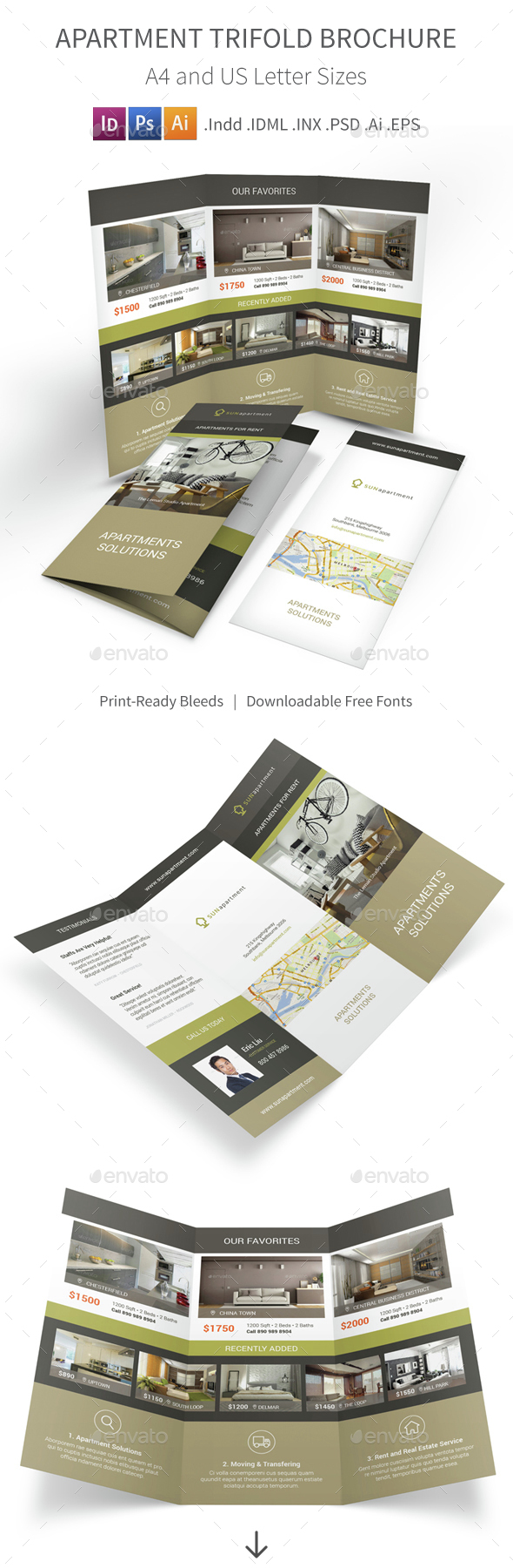 Apartment For Rent Trifold Brochure 2 - Informational Brochures