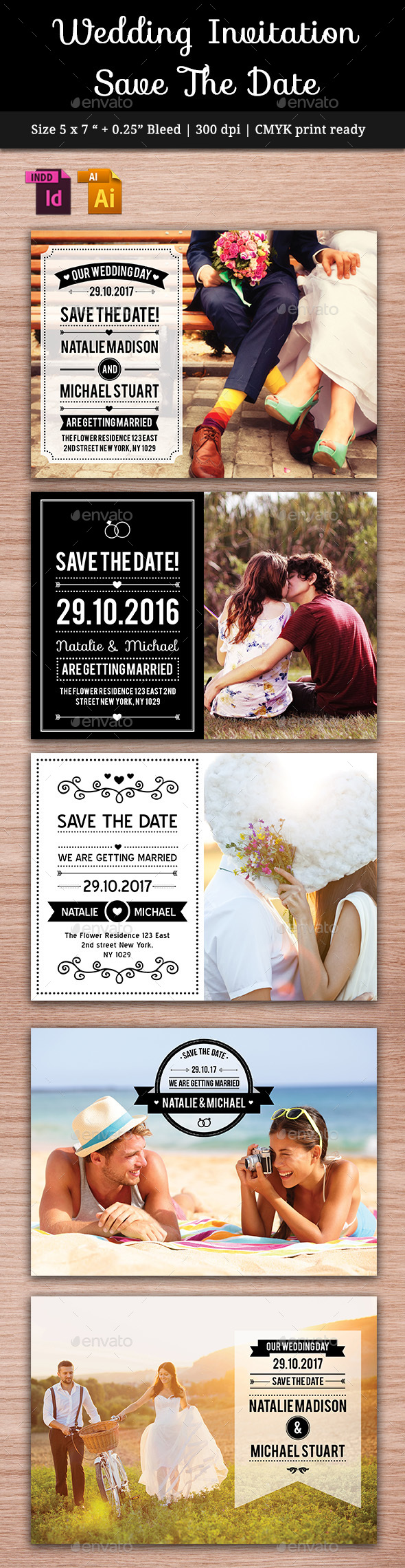 Wedding Save The Date Vol. 2 - Cards & Invites Print Templates