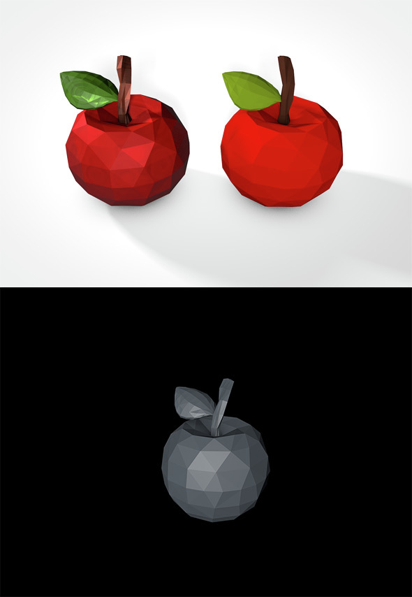 Low Poly Apple - 3DOcean Item for Sale