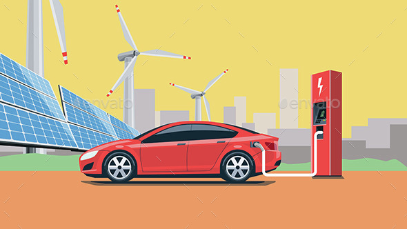 Electric Car Charging at the Charging Station - Miscellaneous Vectors