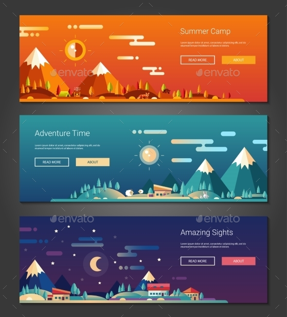 Flat Design Outdoors Activity And Tourism - Landscapes Nature