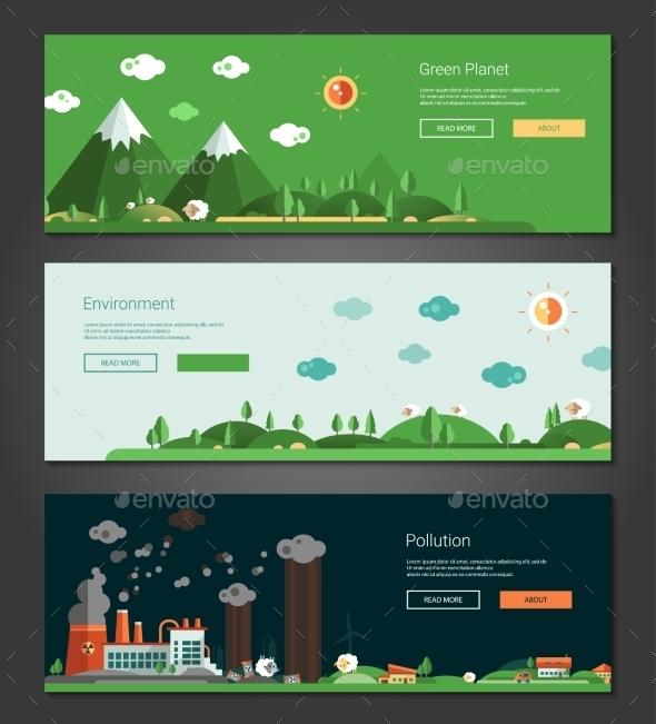 Flat Design Natural And Ecological Landscapes - Landscapes Nature