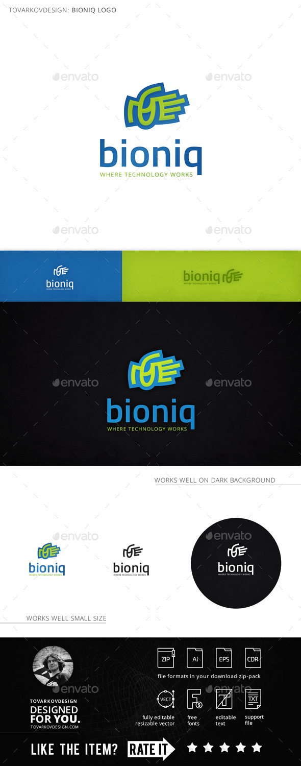 Bioniq Hand Palm Logo Template - Humans Logo Templates