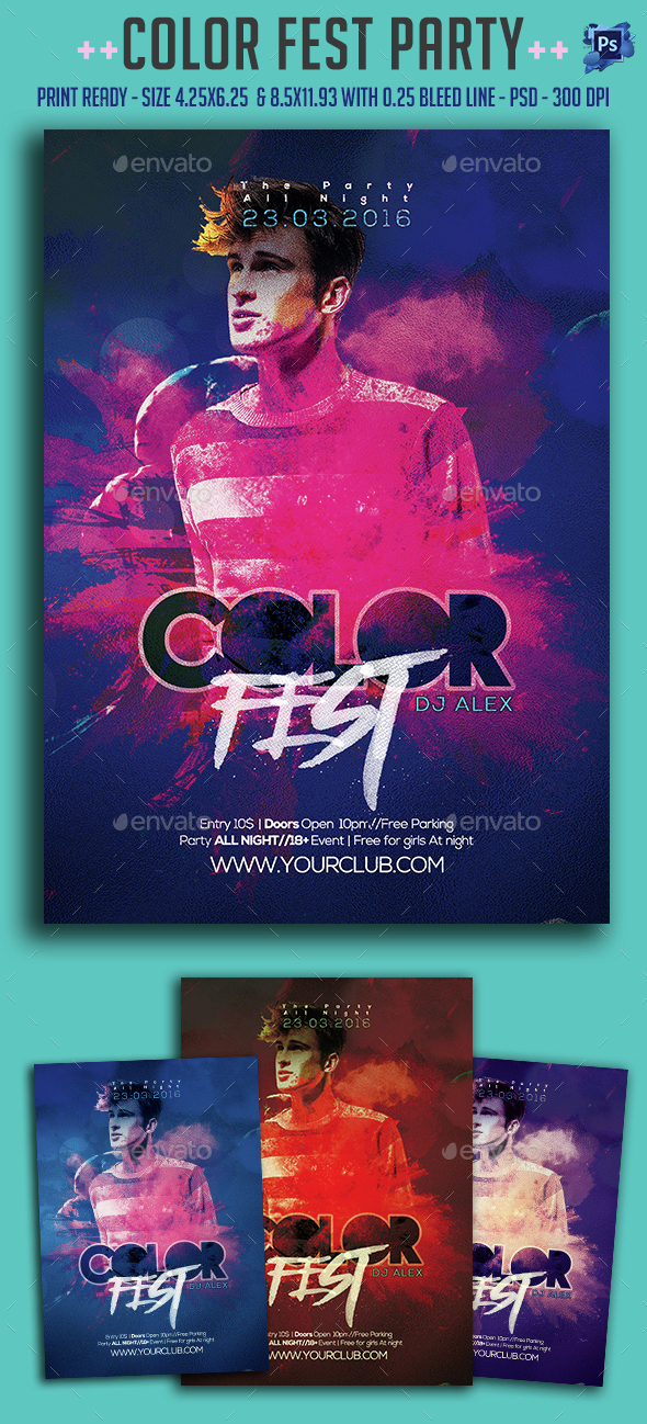 Color Fest Party Flyer - Clubs & Parties Events