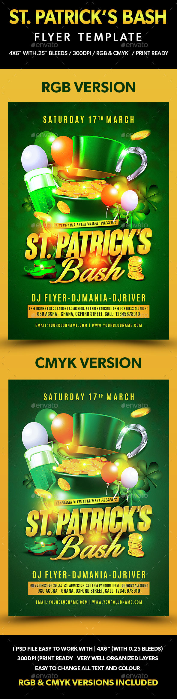 St. Patrick's Bash Flyer Template - Flyers Print Templates