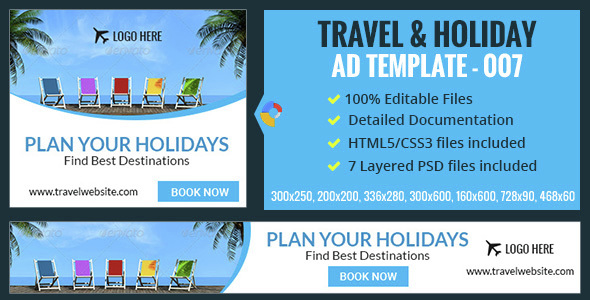 GWD | Travel & Vacation HTML5 Banners - 07 Sizes - CodeCanyon Item for Sale