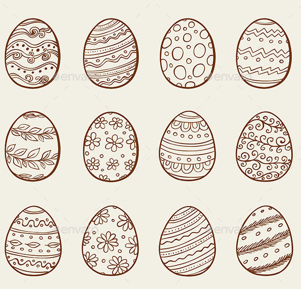Hand Drawn Eggs - Decorative Symbols Decorative
