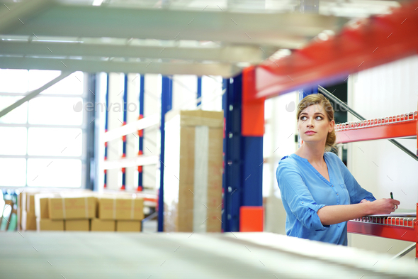 Business woman inspector doing inventory in a warehouse - Stock Photo - Images