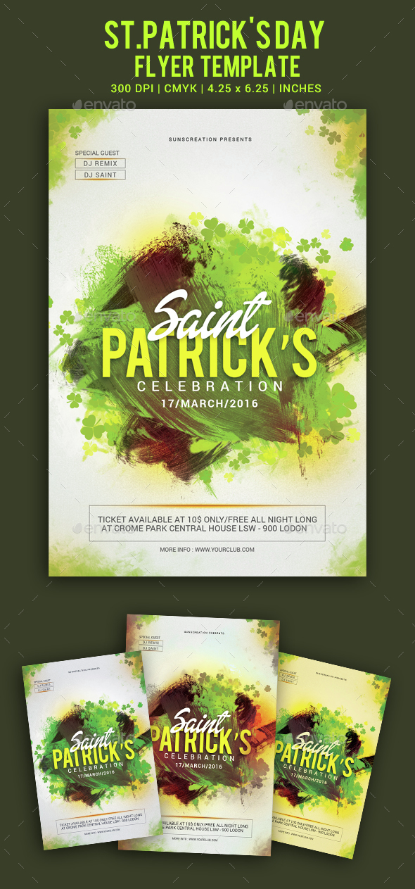 St.Patrick's Day Celebration Party Flyer Template - Clubs & Parties Events