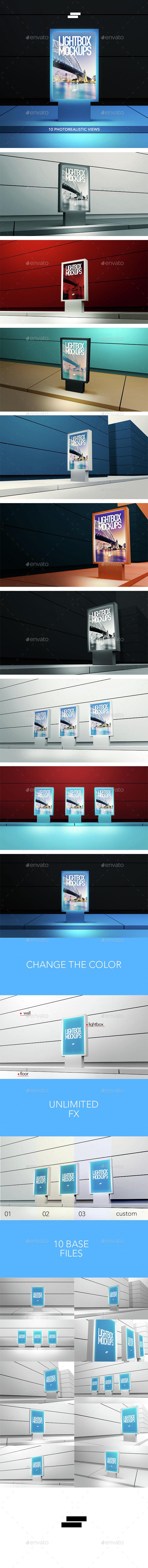 3D Lightbox Poster Outdoor Mock-ups - Signage Print
