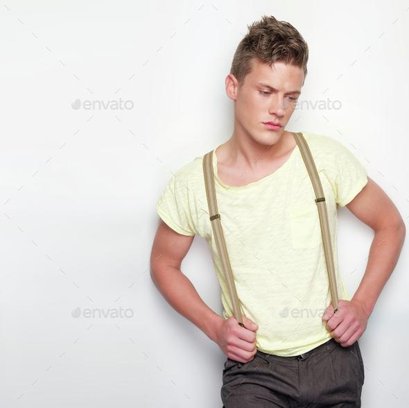 Fashion Model Leaning Against Wall