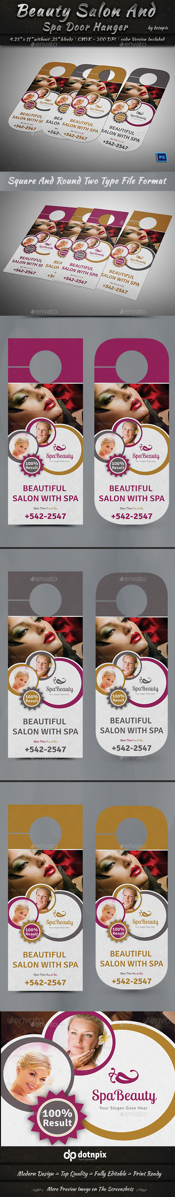 Beauty Salon And Spa Door Hanger - Miscellaneous Print Templates