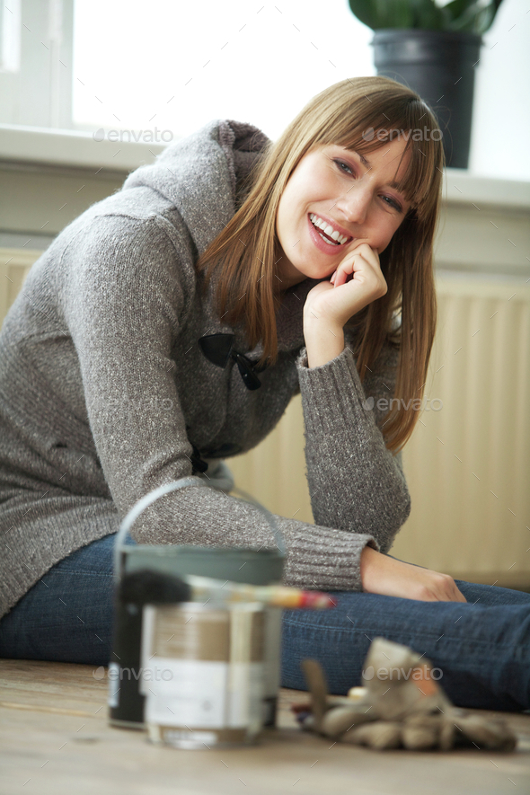 Woman Renovating and Relaxing - Stock Photo - Images