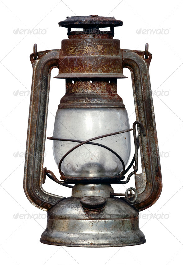 time-worn kerosene lamp - Stock Photo - Images