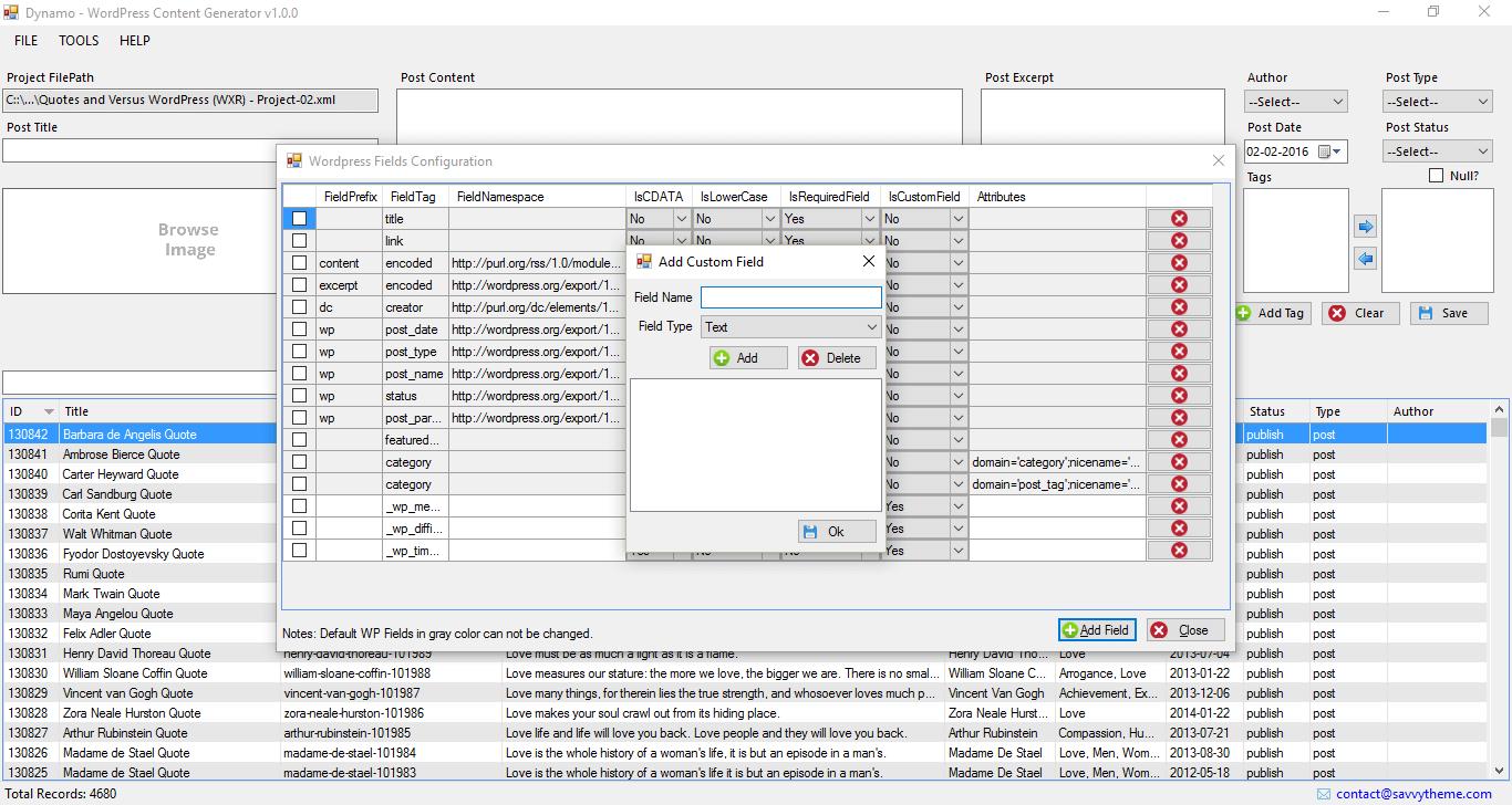 DYNAMO - WordPress Data Generation Utility