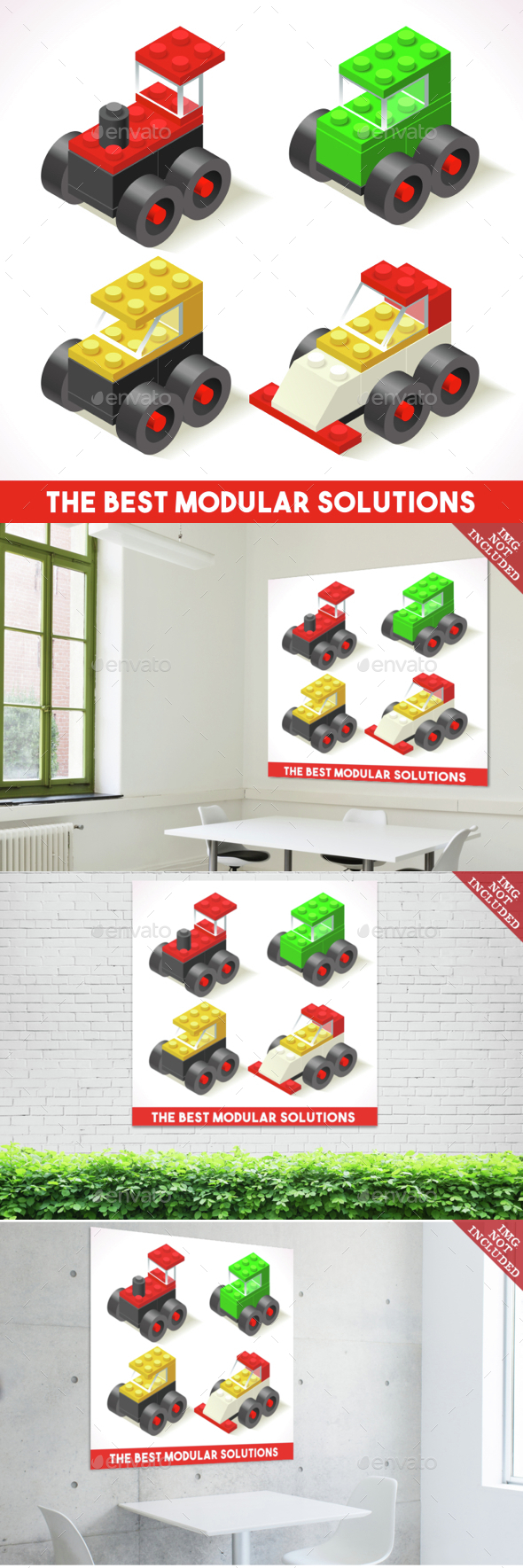 Toy Block Cars Isometric - Retro Technology