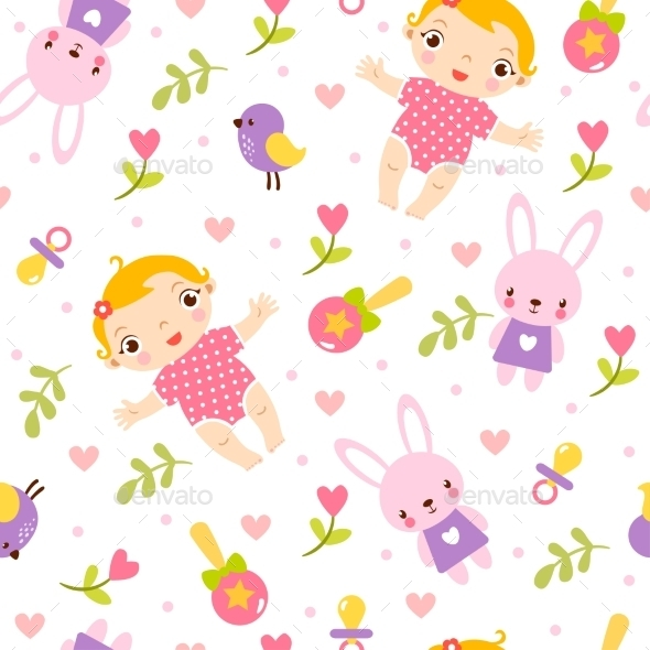 Seamless Girl Baby Pattern - Patterns Decorative