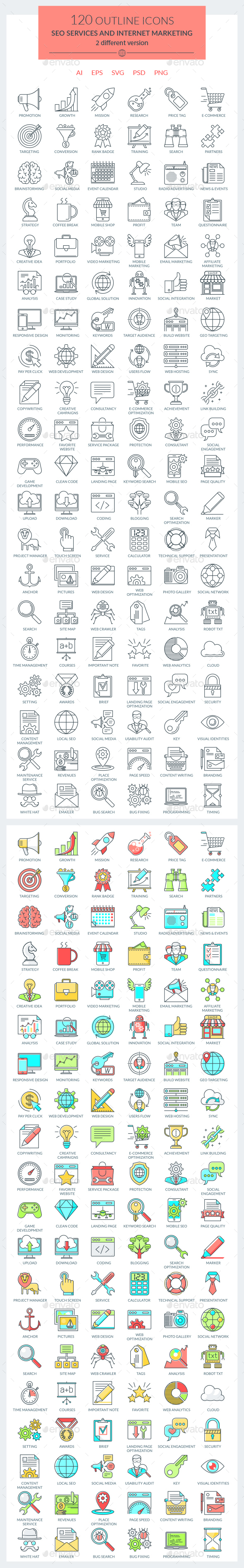 SEO Services and Internet Marketing Icons - Web Icons