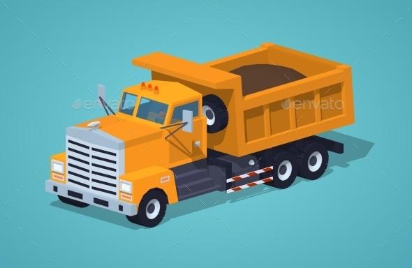 Loaded Orange Dumper - Man-made Objects Objects