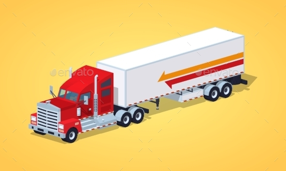 Red Heavy American Truck with The Trailer - Man-made Objects Objects