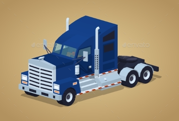 Dark-Blue Heavy American Truck - Man-made Objects Objects