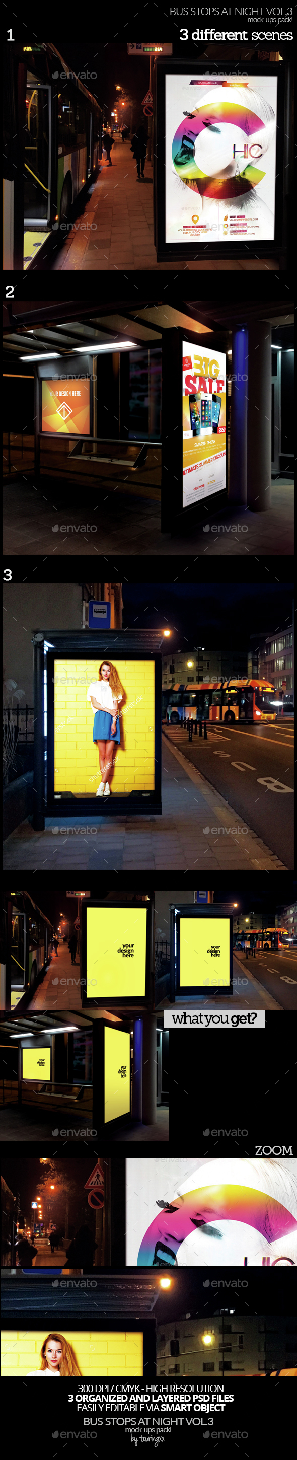 Bus Stops At Night Vol.3 Mock-Ups Pack - Product Mock-Ups Graphics
