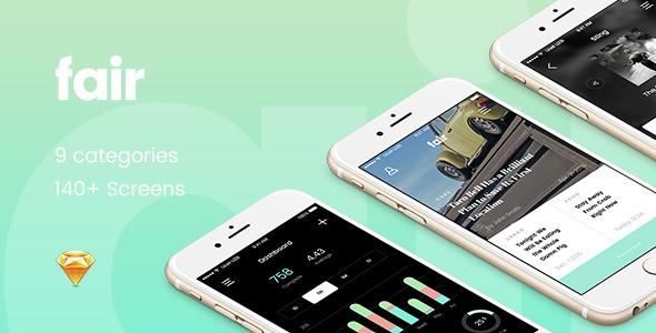 Fair UI Kit - 140+ iOS screens - Sketch Templates