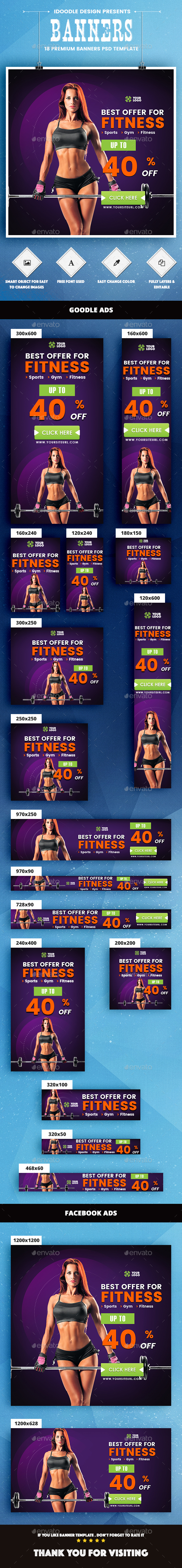 Health & Fitness Banners Ads - Banners & Ads Web Elements