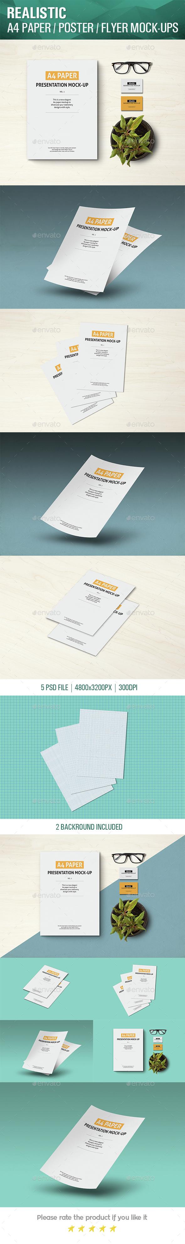 A4 Paper / Poster / Flyer Mockup - Flyers Print