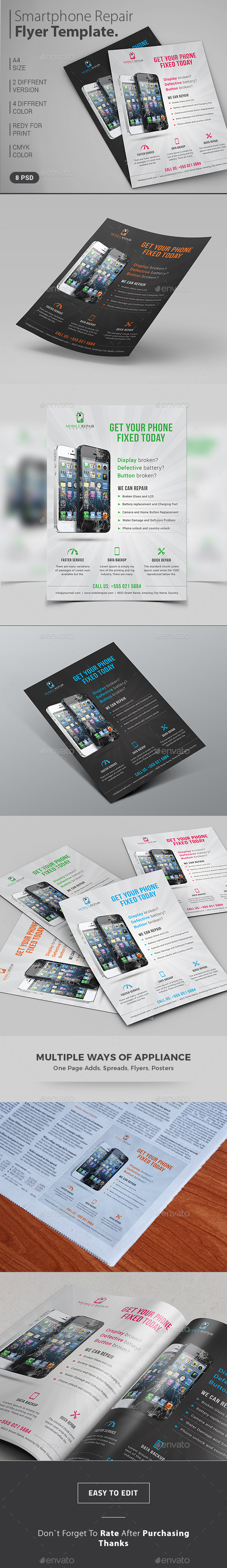 Smartphone Repair Service Flyer / Magazine Ad - Commerce Flyers