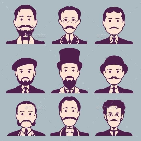 Vintage Gentleman Portrait Set - People Characters
