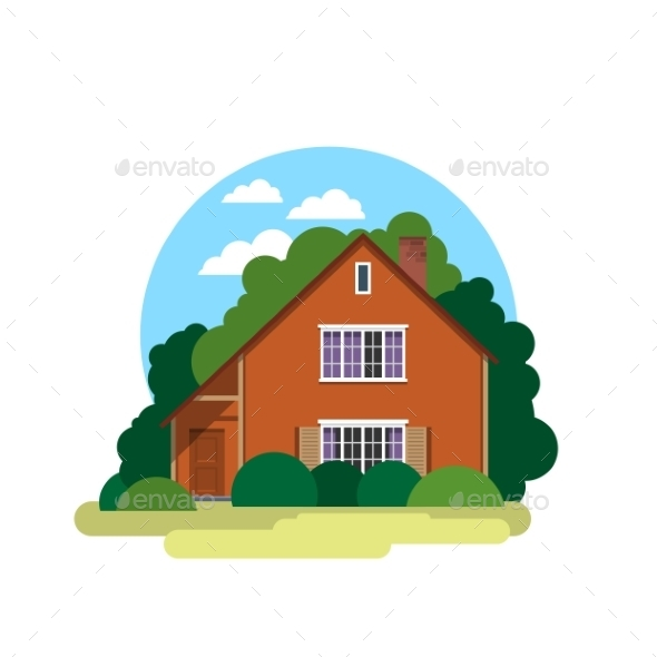 Sweet Home Illustration in a Flat Style - Buildings Objects