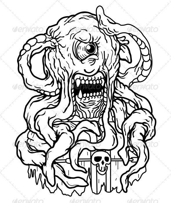 Octopus Monster - Characters Vectors