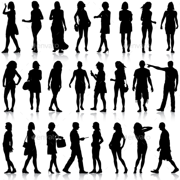 Black Silhouettes of Men and Women - People Characters