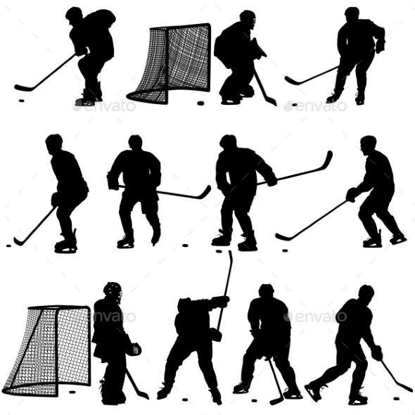 Set of Silhouettes of Hockey Player - Sports/Activity Conceptual