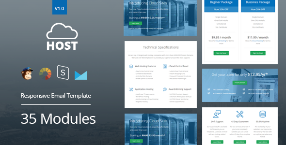 Host - Hosting Responsive Email Template + StampReady Builder - Newsletters Email Templates