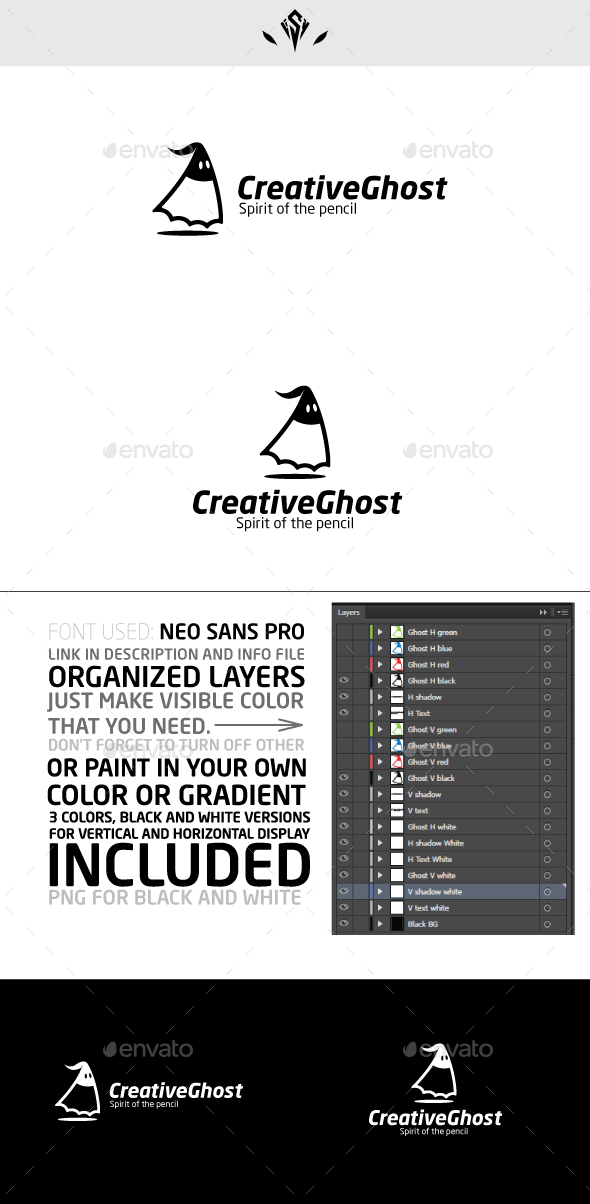 Creative Ghost Logo - Vector Abstract