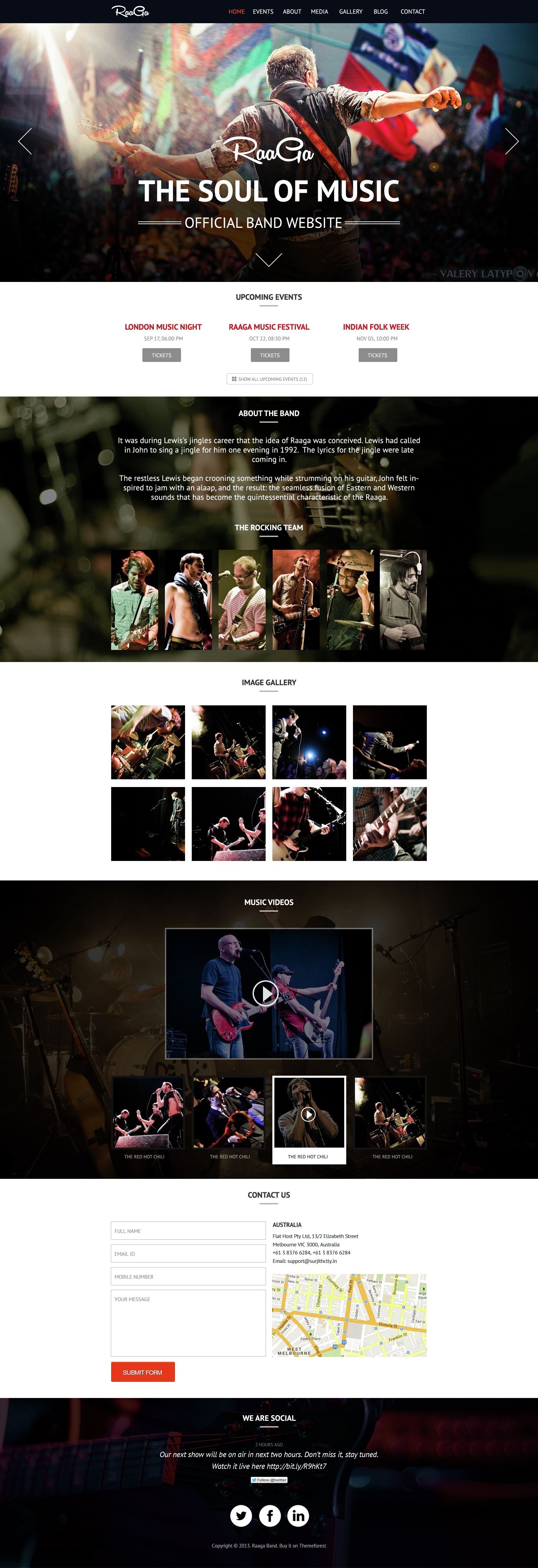 Raaga - Responsive Parallax Template for Bands by surjithctly ...