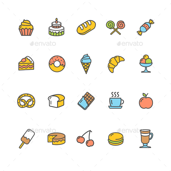 Bakery Icon Set - Food Objects