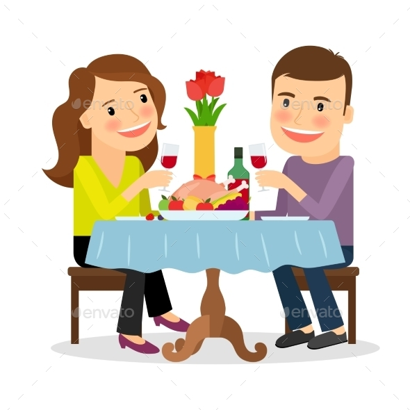 Romantic Dinner in a Restaurant - People Characters