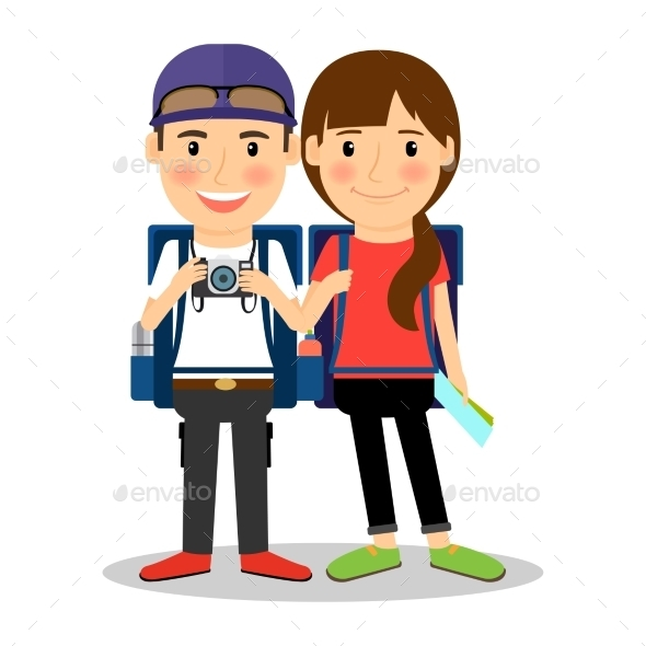 Backpackers Young Tourist Couple - People Characters