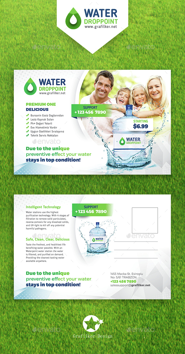 Drinking Water Service Postcard Templates  - Cards & Invites Print Templates