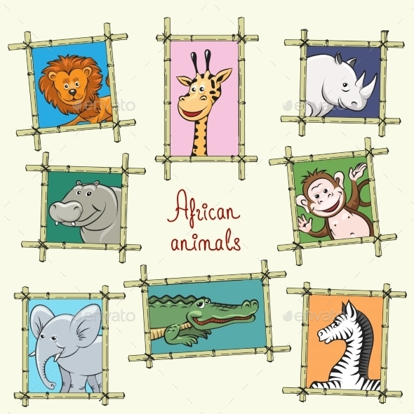 African Animals In a Wooden Frames - Animals Characters