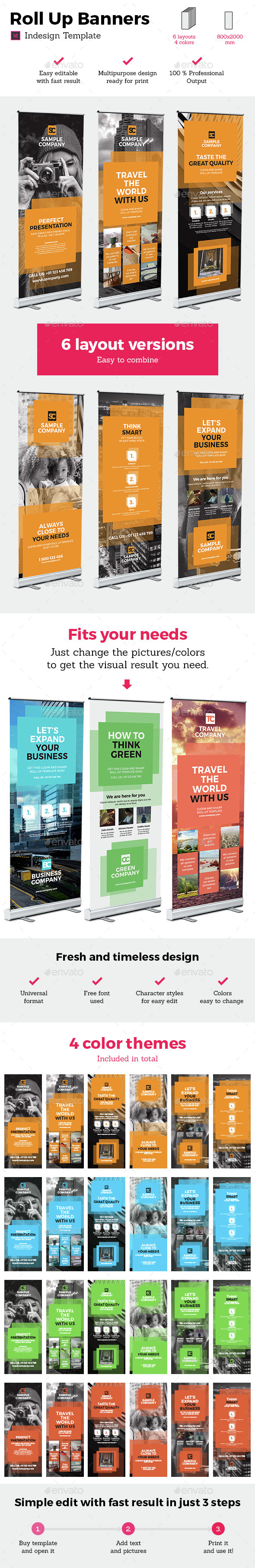 Rollup Stand Banner Display 24x Indesign Template - Signage Print Templates