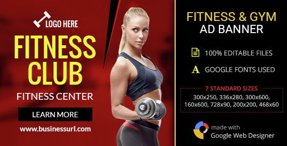 GWD | Fitness Club & Gym HTML5 Banners - 07 Sizes - CodeCanyon Item for Sale