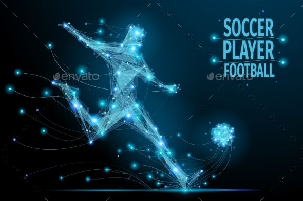 Football Player Polygonal - Sports/Activity Conceptual