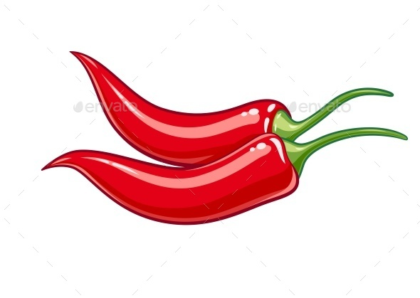Pair of Red Chile Peppers - Food Objects