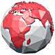 Low Poly Planet Earth World Map Rotating - Red - VideoHive Item for Sale